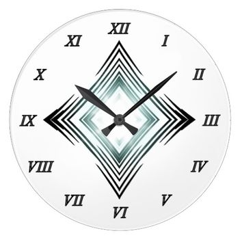 Blue Square With Roman Numerals Large Clock