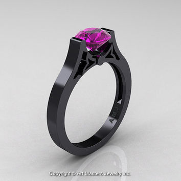 Modern 14K Black Gold Luxurious and Simple Engagement Ring or Wedding Ring with a 1.0 Ct Amethyst Center Stone R668-14KBGAM