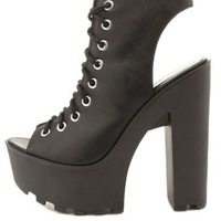Lug-Soled Lace-Up Peep Toe Booties by Charlotte Russe - Black