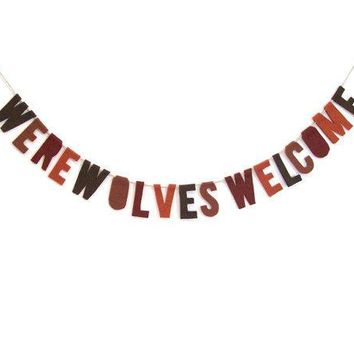 Werewolves Welcome Felt Party Banner Halloween Banner In Brown Whiskey And Chocolate