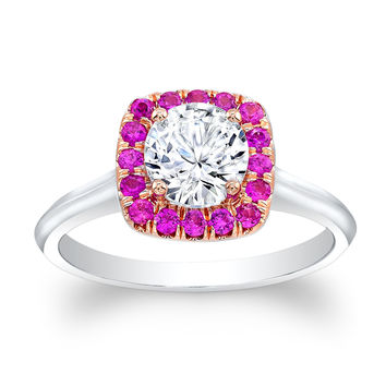 Ladies 14kt white and rose gold engagement ring with natural Pink Sapphire cushion halo and 1ct White Sapphire Center