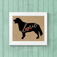 Golden Retriever Love - Burlap or Canvas / Wall Art Print for Dog Lovers: Great Gift / Personalized (Free Shipping)