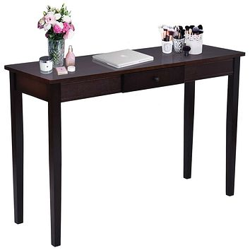 Walnut Brown Wood Console Sofa Table with Drawer