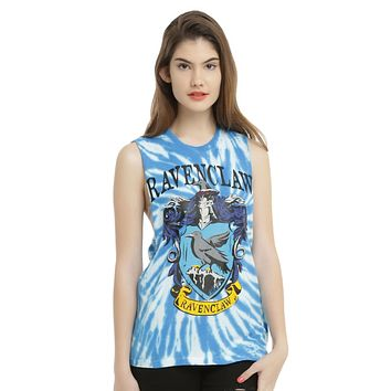 Licensed cool WB Harry Potter RAVENCLAW Bird House Crest Tie Dye Muscle Tank Top Shirt S-L NEW