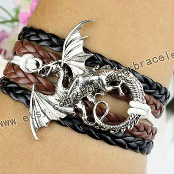 "Dragon Bracelet, Antique Silver Bracelet, ""women cuff Bracelet, bangle jewelry, personalized charm jewelry friendship gift"