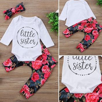 PUDCOCO Newest USA Newborn Baby Girls Tops +Flower Pants+Headband 3Pcs Outfits Set Casual Clothes 0-18M