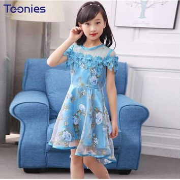 Lovely Girls Dresses Sweet Children Clothes High Quality Mesh Girl Dress Floral Printing Student Costumes 2018 New Child Vestido