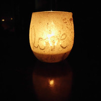 Sand Wrapped Candle Holder with Love and Heart, Tealight/Votive Holder