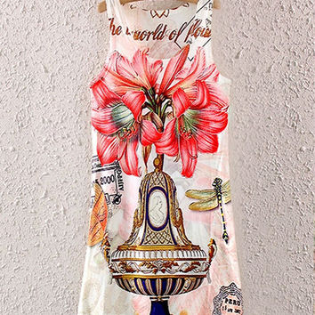 Perfume And Lily Print Sleeveless Shirt