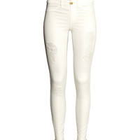 H&M - Slim-fit Pants - White - Ladies