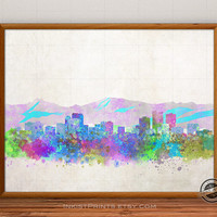 Anchorage Skyline Watercolor Poster, Alaska Print, Cityscape, City Painting, States, Illustration Art Paint, Giclee Wall, Home Decor