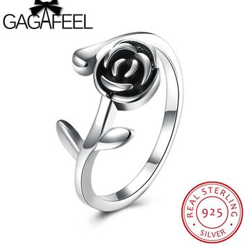 GAGAFEEL Rose Floral Open Ring 100% Pure 925 Sterling Silver Finger Rings For Women Girl Original Jewelry USA Size 8