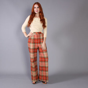 70s High Waist BELL BOTTOMS / PLAID Wool Pants, xs