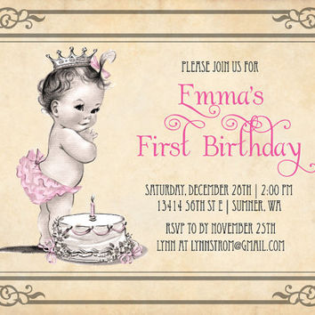 Princess Girl First Birthday Invitations -  Vintage Cake and Princess 1st Birthday Invitation