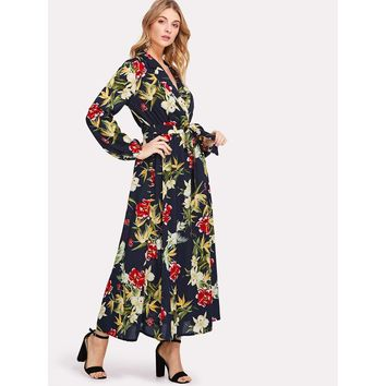 Multicolor V-Neck Wrap Botanical Maxi Dress