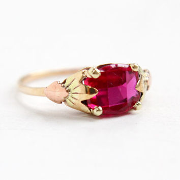 Vintage 10k Yellow & Rose Gold Created Ruby Ring - Size 6 1/4 Art Deco 1930s Synthetic Pink Stone Three Tone Fine Jewelry