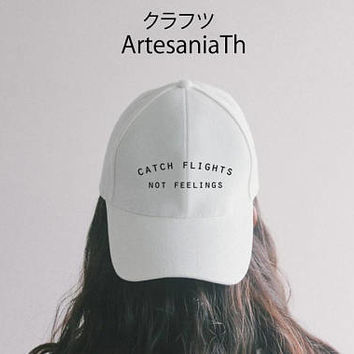 Catch Flights Not Feelings Wanderlust hat Black Pink White, Tumblr hat , Dad Hat  Baseball Hat Baseball Cap , Low-Profile Blogger