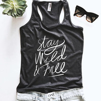 stay wild and free racerback tank top dark grey yoga gym fitness work out cute fashion stylish blogger instagram trendy