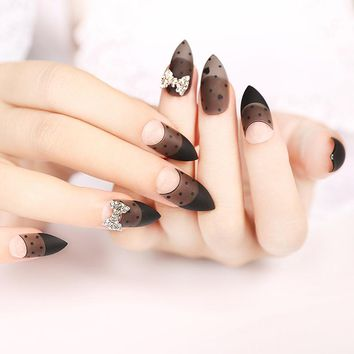 24pcs Matte French Sharp Stiletto False Nail Frosted Black Gray with Metal Ribbon Fake Nails Full Acrylic Nails Tips nep nagels