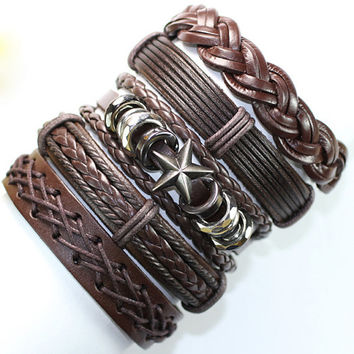 5 Piece Handmade Leather Bracelet Set Leather and Hemp Braclet Friendship USA Seller Item # BST-392