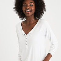 AEO Soft & Sexy Long-Sleeve Henley T-Shirt, Gray