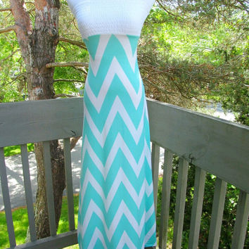 Tiffany Blue Maxi dress, Chevron strapless summer dress