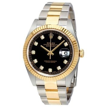 Rolex Datejust 41 Black Dial Diamond 18K Yellow Gold Oyster Mens Watch 12633BKDO