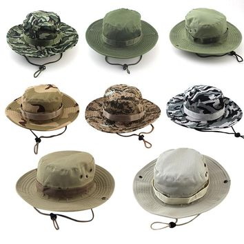 2018 Military Camouflage Bucket Hats Fisherman Hat with Wide Brim Jungle Camo Sun Hat Caps hip hop summer caps mens accessories