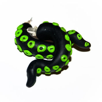 Toxic green octopus tentacle ear studs