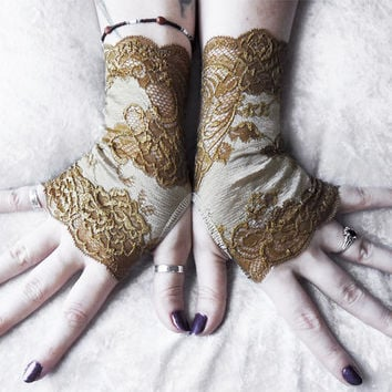 Kodama Lace Fingerless Gloves   Warm Olive Gold Taupe Floral   Victorian Wedding Mori Girl Gothic Bridal Dystopian Green Dryad Fae Noir Goth