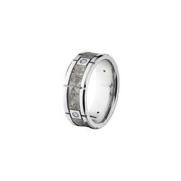 Platinum and Meteorite Band Ring with Four Diamonds