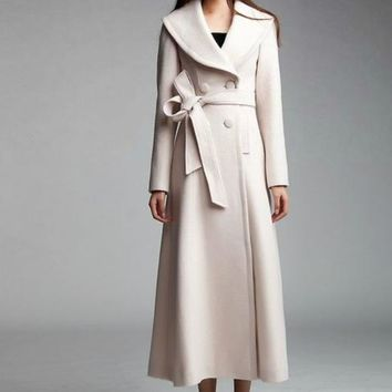 Winter Spring accept Custom High Quality Women White Cashmere Wool Warm Trench Noble Sashes Slim Long Maxi Coat Female Jacket