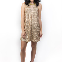 Great Gatsby- Sequined Dress Taupe