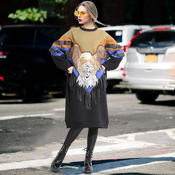 Women Loose Casual Multicolor Sequin Eagle Tassel Thickened Middle Long Section Long Sleeve Sweater Dress