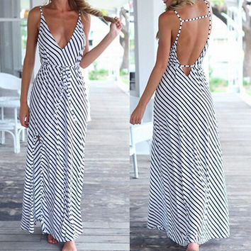 Black and White Stripe Backless Bohemian Dress