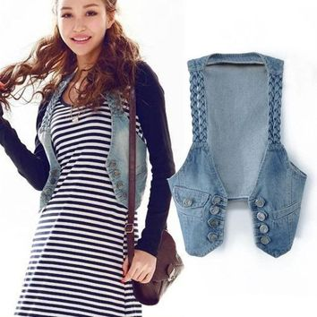DCCKIX3 New Fashion Frayed Women's Jean Vest Sleeveless Waistcoat Denim Jacket Outerwear  SV005732 (Size: M, Color: Blue) = 1902131908