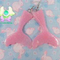 Fairy Kei Mermaid Tail Earrings - Pastel Pink