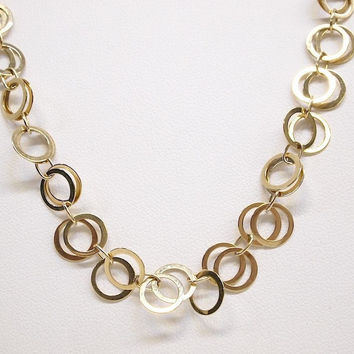 "Heavy Solid 14K Yellow Gold 8mm Circle Link 17"" Necklace"
