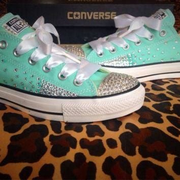 CREYUG7 Full Ombre Rhinestone Converse with Ribbon Shoelaces