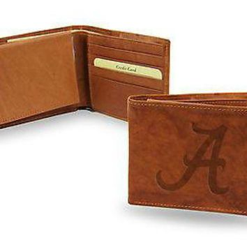 ONETOW Alabama Crimson Tide Wallet BROWN LEATHER BillFold Embroidered University of