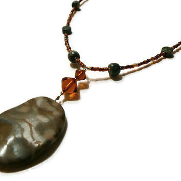 Marble Pendant Necklace, fall color jewelry, brown stripe marble, green Jasper gemstones, copper gold beads, marble beaded pendant necklace