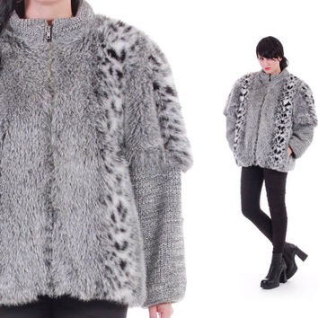 Faux Snow Leopard and Chunky Cable Knit Sweater Coat Shaggy Silver 80s 90s Fur Jacket Avant Garde Boho Winter Clothing Womens Size Large