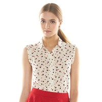 Disney's Minnie Mouse a Collection by LC Lauren Conrad Print Crinkled Blouse