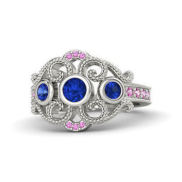 White Gold Over .925 Sterling Blue & Pink Sapphire Disney Princess Wedding Ring
