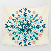 Watercolor Lotus Mandala in Teal & Salmon Pink Wall Tapestry by Micklyn
