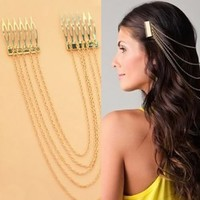 New Women Chic Hair Cuff Pin Head Band Chains 2 Combs Tassels Fringes Boho Punk