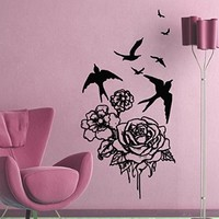Wall Decals Roses Birds Decal Vinyl Sticker Family Bedroom Home Decor Art Mural Ms388
