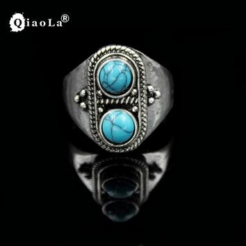 2017 New Fashion Jewelry Two Stones Rings For Women 3 Color Vintage Green Stone Ring Boho Style Ring Big Chunky Jewelry