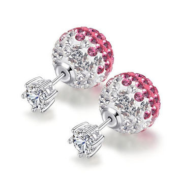 Ball Double Side Rhinestone Earrings