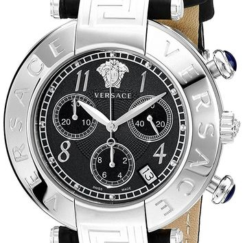 Versace Women's Q5C99D009 S009 New Reve Stainless Steel Watch with Black Leather Band